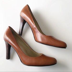Lauren Ralph Lauren Cognac Zabrina Wood Heel Pumps